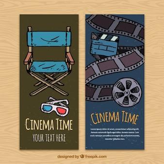 Banners de elementos de cine dibujados a mano