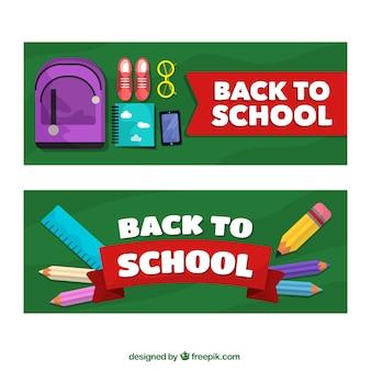 Banners de elementos de colegio en diseño plano