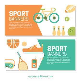 Banners de elementos de deporte en diseño plano