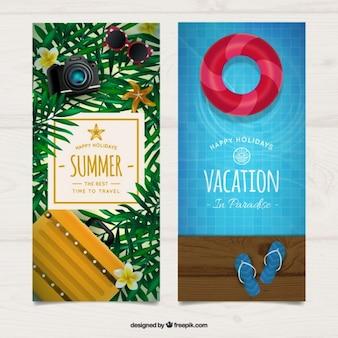 Banners de elementos realistas de verano