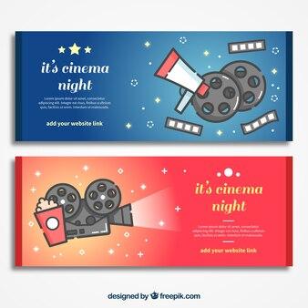 Banners de elementos típicos de cine