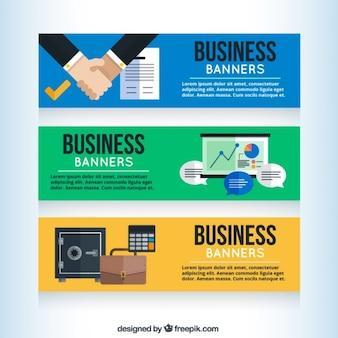 Banners de empresa en diseño plano