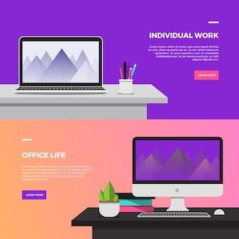 Banners de escritorio de trabajo creativo
