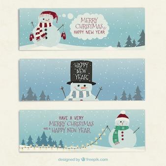 Banners de felicitación de muñeco de nieve