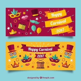 Banners de feliz carnaval con artículos coloridos