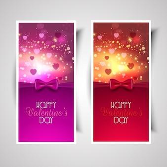 Banners de feliz día de san valentín de lazo rosa y rojo
