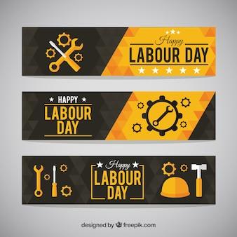 Banners de feliz día del trabajador con herramientas
