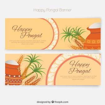 Banners de Feliz Pongal en un estilo plano