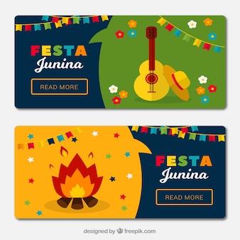Banners de festa junina con hoguera y guitarra