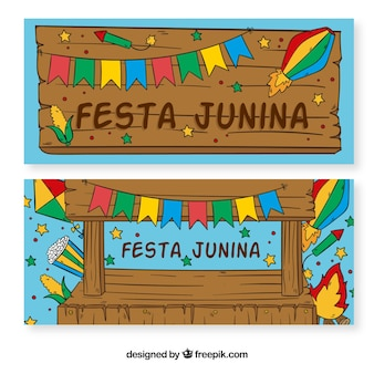 Banners de festa junina de madera y decoración