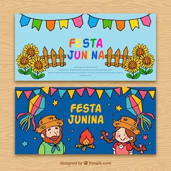 Banners de festa junina dibujados a mano