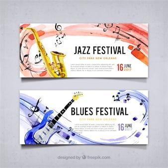 Banners de festival de jazz y blues de acuarela