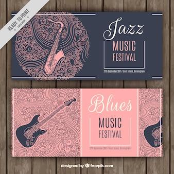 Banners de festival de jazz y blues