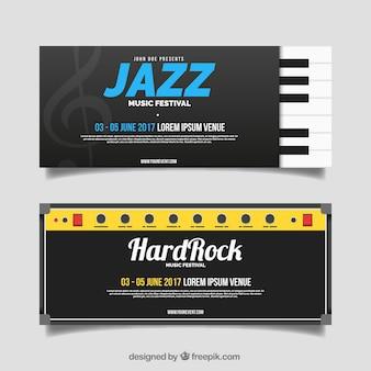 Banners de festival de música con detalles de color