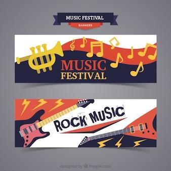 Banners de festival de musica con instrumentos