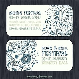 Banners de festival de rock and roll con instrumentos dibujados a mano