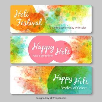 Banners de festival Holi pintados a mano