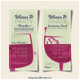 Banners de fiesta con copas de vino