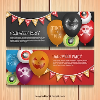 Banners de fiesta de halloween con globos