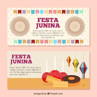 Banners de fiesta junina con cosas típicas