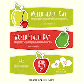 Banners de frutas del día de la salud