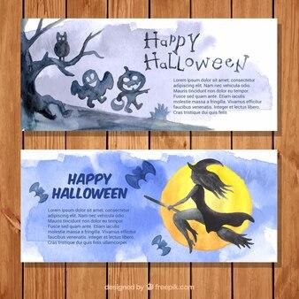 Banners de halloween bonitos pintados con acuarelas