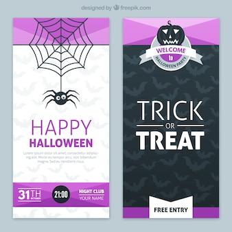 Banners de Halloween con elementos de color púrpura
