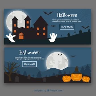 Banners de halloween con estilo clásico