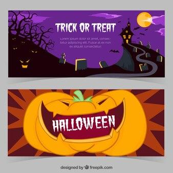 Banners de halloween con un castillo y una calabaza