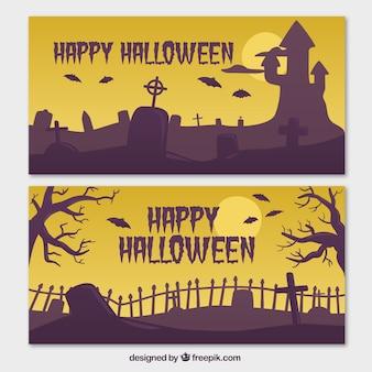 Banners de halloween en tonos amarillos y morados
