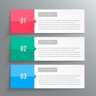 Banners de infografía que muestra tres pasos para sus datos