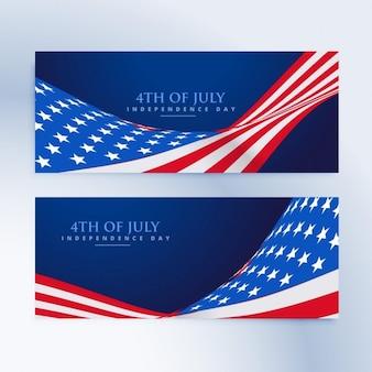 Banners de la bandera americana del 4 de julio