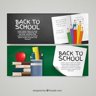 Banners de libreta y elementos escolares