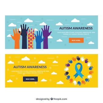 Banners de manos coloridas del día del autismo