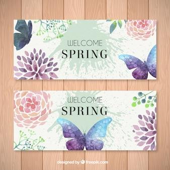 Banners de mariposa y flores de cuarela