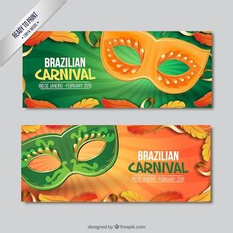 Banners de máscaras naranja y verde de carnaval