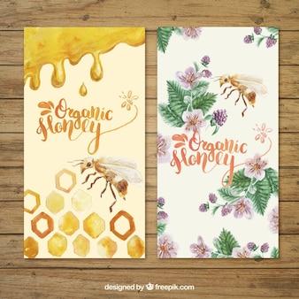 Banners de miel, pintados a mano