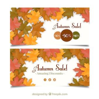 Banners de ofertas con decoración de hojas secas
