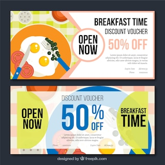 Banners de ofertas de desayuno