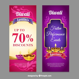 Banners de ofertas de diwali
