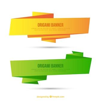 Banners de origami planos amarillo y verde