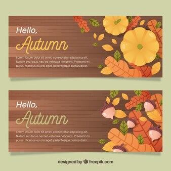 Banners de otoño con calabaza, hojas y bellotas