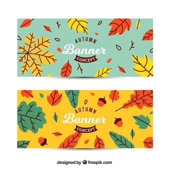 Banners de otoño con estilo divertido