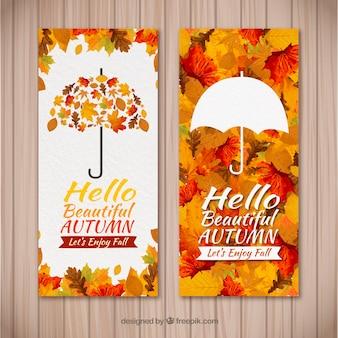 Banners de otoño en acuarela con estilo moderno