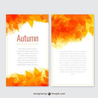 Banners de otoño plantilla en tonos anaranjados