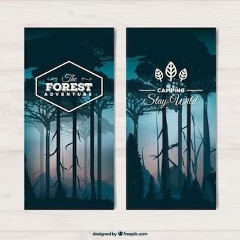 Banners de paisaje de bosque