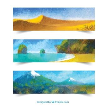 Banners de paisaje de vacaciones