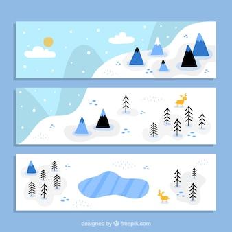Banners de paisaje nevado dibujado a mano