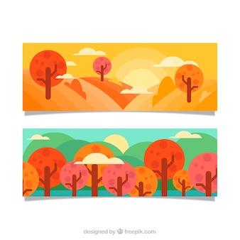Banners de paisajes con árboles en diseño plano