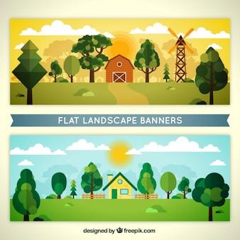 Banners de paisajes de granja